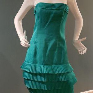 Louis Feraud Vintage Teal Silk Cocktail Dress Sz 8